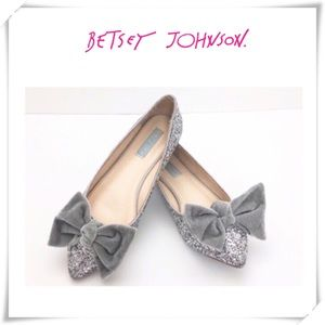 Betsey Johnson Amory Bow Sliver Glitter Flat Shoes